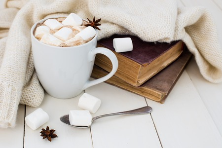 Photo pour Cozy winter home background, cup of hot cocoa with marshmallow, old vintage books and warm knitted sweater on white painted wooden board background. - image libre de droit