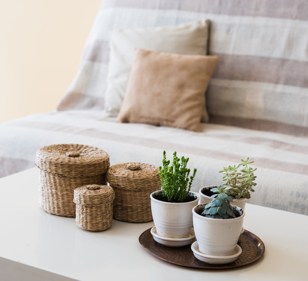 Foto de Cozy vintage home decoration: green plants and decorative wicker boxes on a table by the sofa with pillows, living room interior. - Imagen libre de derechos