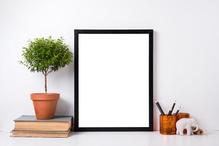 Foto de Modern home decor with frame and interior objects, design ready poster mock-up - Imagen libre de derechos