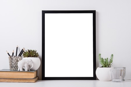 Photo pour Modern home decor with frame and interior objects, design ready poster mock-up - image libre de droit