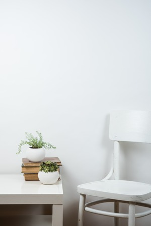 Photo for White chair and empty wall background, room interior wall art poster mock up - Royalty Free Image