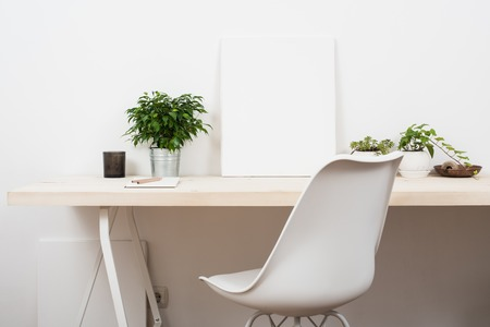 Photo pour Scandinavian style startup work space, white minimalist office, modern business interior. - image libre de droit