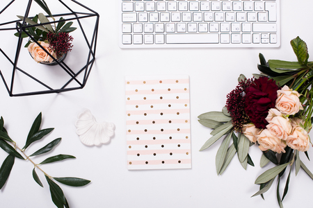 Photo for White feminine tabletop flatlay - Royalty Free Image