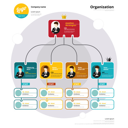 Foto per Organization chart, Coporate structure, Flow of organizational. Vector illustration. - Immagine Royalty Free