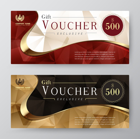 Illustration pour Luxury gift voucher template. promotion card, Coupon design. vector stock. - image libre de droit