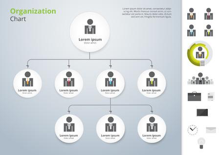 Ilustración de Vector modern and simple organization chart template. vector illustration. - Imagen libre de derechos