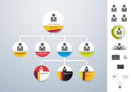 Ilustración de Vector modern and simple organization chart template. vector illustration - Imagen libre de derechos