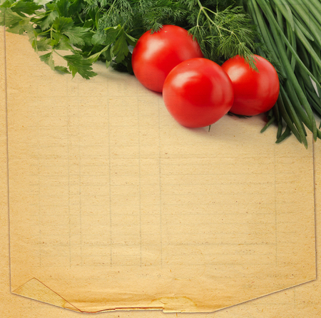 Foto de Old retro torn blank recipe book  with photo of tomato and spices - Imagen libre de derechos