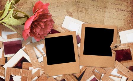 Foto de Set of old vintage slides, photos and film with peony in grunge paper album - Imagen libre de derechos
