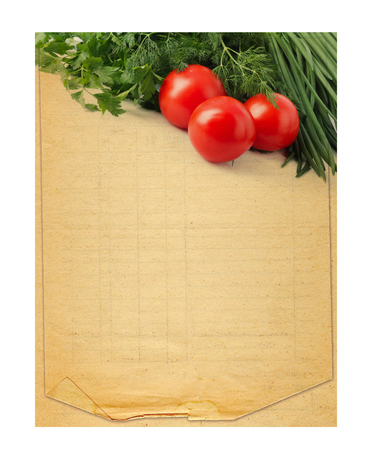 Foto de Old blank recipe book  with photo of tomato and spices on white isolated background - Imagen libre de derechos