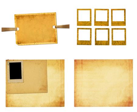 Foto de Set of old vintage paper with grunge frames for photos - Imagen libre de derechos