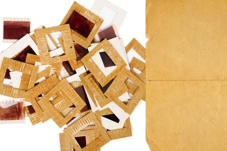 Foto de Set of vintage old slides, photos and film on the table - Imagen libre de derechos