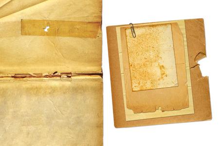Foto de Set grunge old papers design in scrapbooking style on white isolated background - Imagen libre de derechos