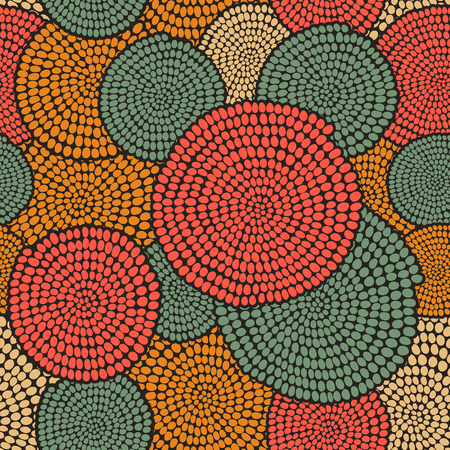 Ilustración de Hand drawn Traditional  African Ornament. Stylized texture with arcs and circles. Plain warm  background for decoration or backdrop. - Imagen libre de derechos