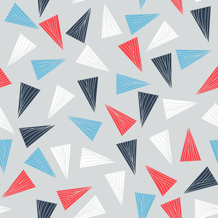 Illustration pour Seamless pattern with colorful triangles. Abstract texture with triangles and hand drawn elements. Contrast puzzle background for decoration or backdrop. Unstable endless composition. - image libre de droit