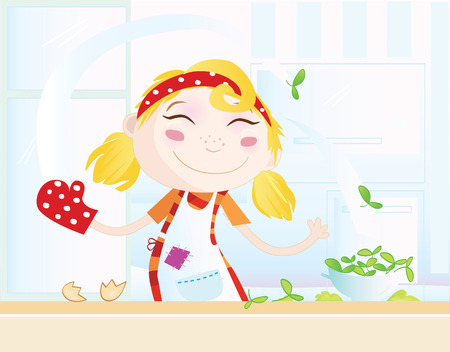Funny kitchen girl. Cooking girl have fun in the kitchen.Vector Illustration