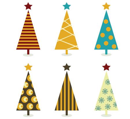 Illustration pour Retro christmas tree elements. Christmas trees design elements isolated on white. Vector illustration. - image libre de droit