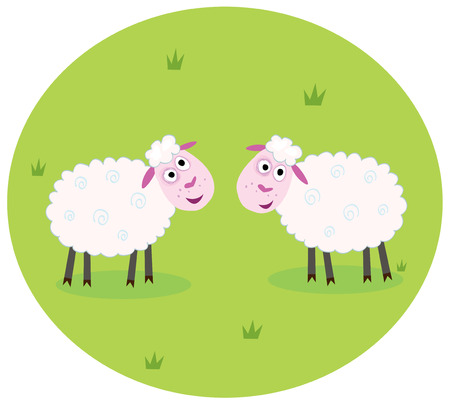 Two white sheep. Stylized  illustration of two white sheep on green meadow. They are looking at each other.