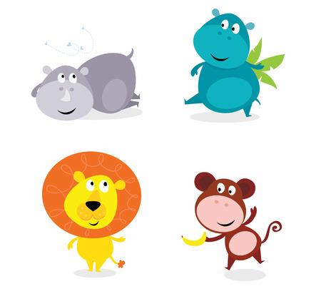 Cute safari animals set - hippo, rhino, lion and monkey