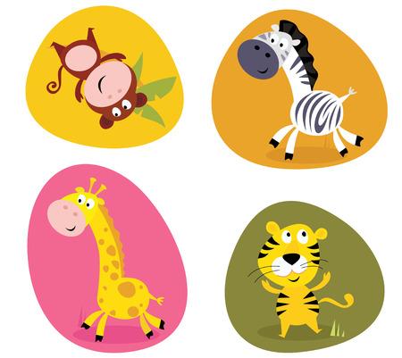 Illustration set of cute safari animals: monkey, tiger, giraffe and zebra