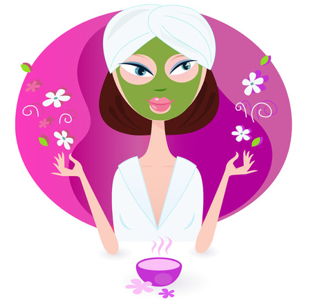 Illustration pour Young woman is practicing aromatherapy with nature flowers. Vector illustration of beauty girl isolated on pink background. - image libre de droit