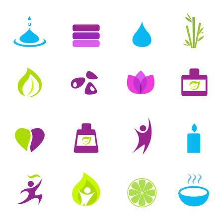 Water, wellness, nature and zen icons - pink, green, blue. Vector
