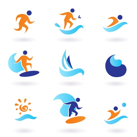 Vector collection of summer sport icons isolated on white.
