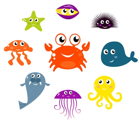 Underwater creatures and animals set. Vector cartoon Illustration.