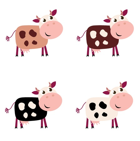 collection of four happy Cow characters - isolated on white.
