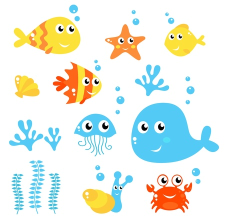 Exotic fishes and Sea animals big collection. Vector cartoon Illustration.
