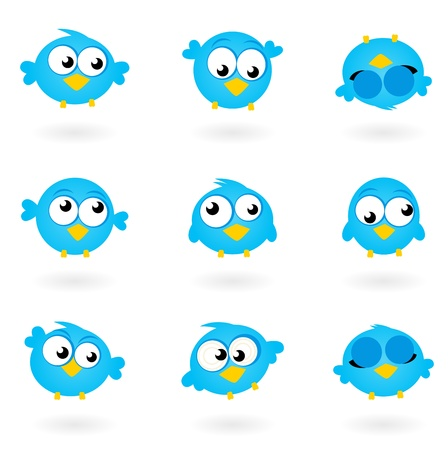 Blue funny Twitter Birds collection. Vector icons