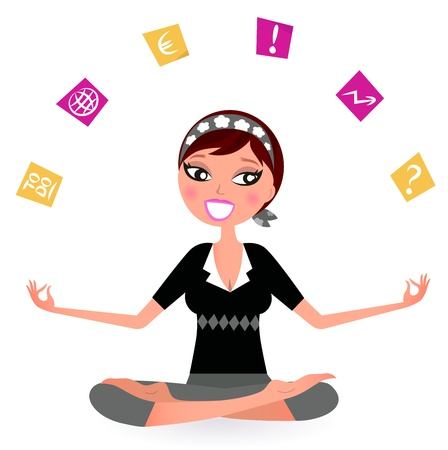 Illustration pour Busy woman with notes trying to relax in yoga position.  Vector retro Illustration - image libre de droit