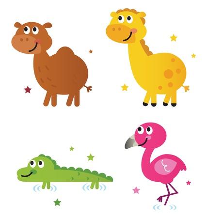 Safari animals - giraffe, camel, croc and flamengo. Vector cartoon