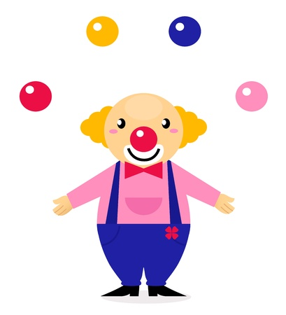 Illustration for Funny Clown - vector cartoon character - Royalty Free Image
