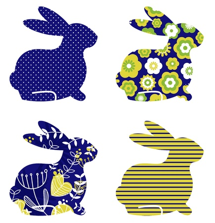 Spring patterned bunny collection. Vector