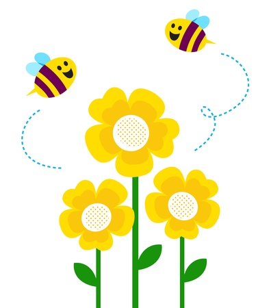 Bees and yellow flowers. Vector cartoon