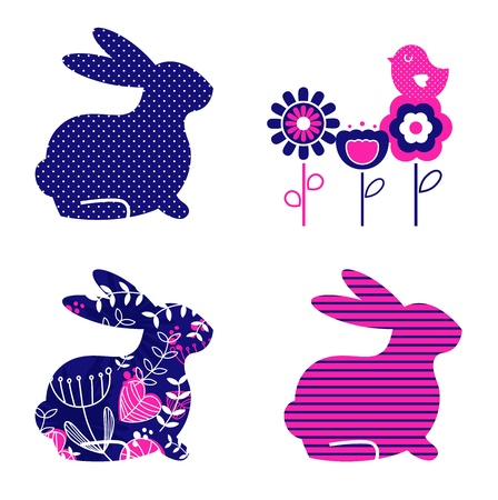 Ester bunny and flowers set. Vector
