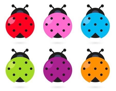 Stylized colorful Ladybugs collection.