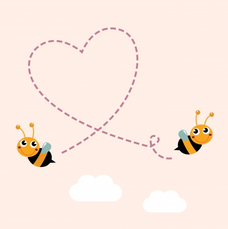 Illustration for Bees making love heart. Vector cartoon Illustration - Royalty Free Image