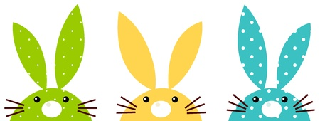 Beautiful vibrant bunny set - green, yellow and blue. Vector Illustration