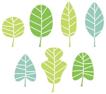 Illustration for Abstract patterned leaves set  Illustration - Royalty Free Image