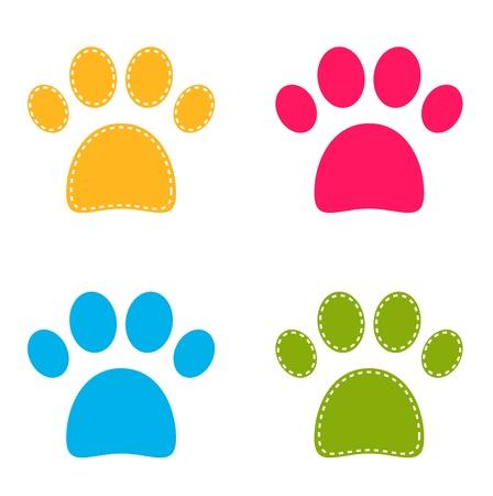 Ilustración de Colorful Doggie Paws collection.  - Imagen libre de derechos