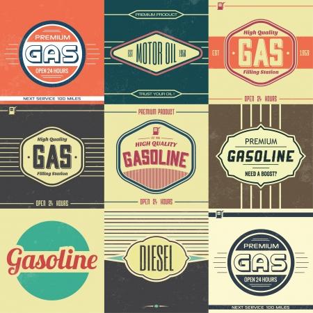 Illustration pour Collection of Retro Gasoline Signs   Motor Oil   Vintage Background - image libre de droit