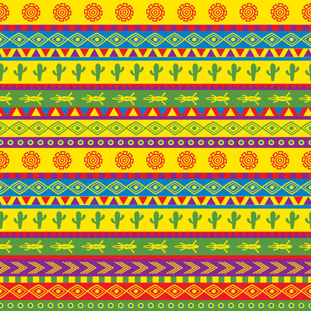 Illustration for vector seamless mexican pattern in bright color scheme - Royalty Free Image