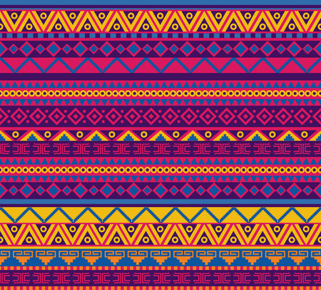Illustration for bright vector seamless pattern in mexican style - Royalty Free Image
