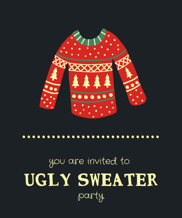 template of a Christmas card, illustration of a sweater and text on a dark background