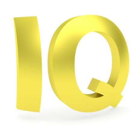 Foto de Curved golden IQ sign rendered with soft shadows on white background - Imagen libre de derechos