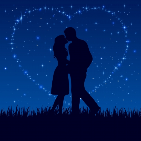 Photo pour Two enamored on the night sky with shining stars, illustration.  - image libre de droit