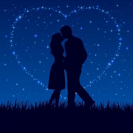 Foto de Two enamored on the night sky with shining stars, illustration.  - Imagen libre de derechos