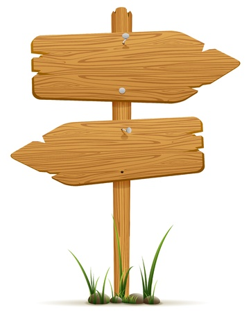Illustration pour Wooden signs in a grass, isolated on white background, illustration  - image libre de droit